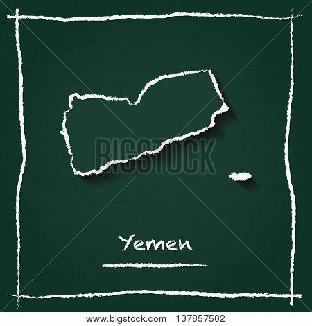 Yemen Outline Vector Map Hand Drawn With Chalk On A Green Blackboard. Chalkboard Scribble In Childis