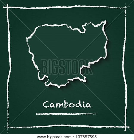 Cambodia Outline Vector Map Hand Drawn With Chalk On A Green Blackboard. Chalkboard Scribble In Chil