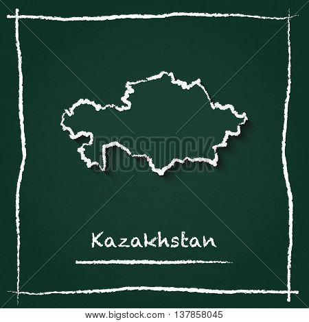 Kazakhstan Outline Vector Map Hand Drawn With Chalk On A Green Blackboard. Chalkboard Scribble In Ch