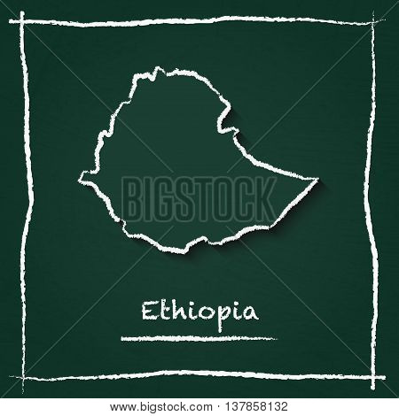 Ethiopia Outline Vector Map Hand Drawn With Chalk On A Green Blackboard. Chalkboard Scribble In Chil