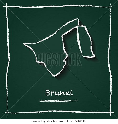 Brunei Darussalam Outline Vector Map Hand Drawn With Chalk On A Green Blackboard. Chalkboard Scribbl