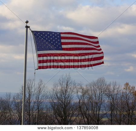 The stars and stripes flying on the Blue Ridge of Virginia over the Shenandoah Valley