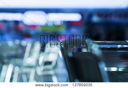 Horizontal empty cafe right aligned chair cold bokeh background