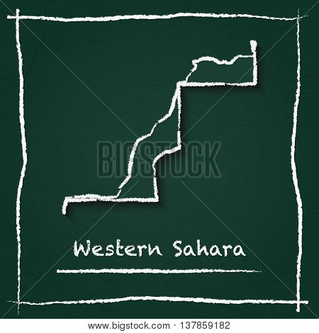 Western Sahara Outline Vector Map Hand Drawn With Chalk On A Green Blackboard. Chalkboard Scribble I