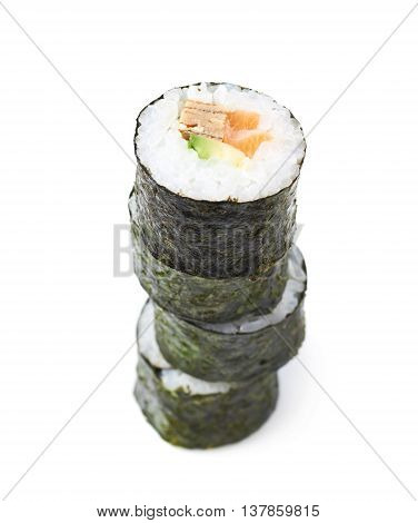 Pile of multiple aljaska hosomaki sushi isolated over the white background
