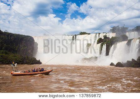 Tourist Boat At Iguazu Falls