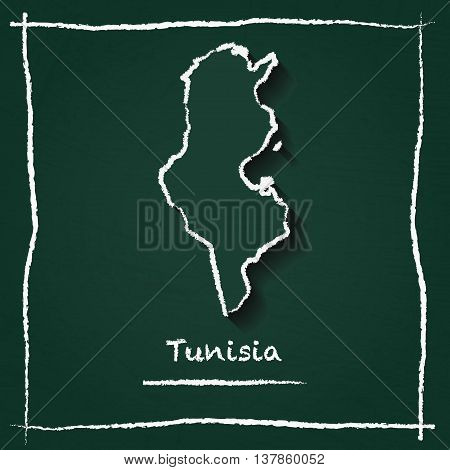Tunisia Outline Vector Map Hand Drawn With Chalk On A Green Blackboard. Chalkboard Scribble In Child