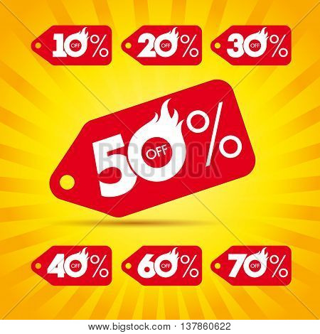 Discount label hot sale. Sale vector template label hot 50% offer