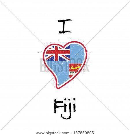 Fijian Flag Patriotic T-shirt Design. Heart Shaped National Flag Fiji On White Background. Vector Il