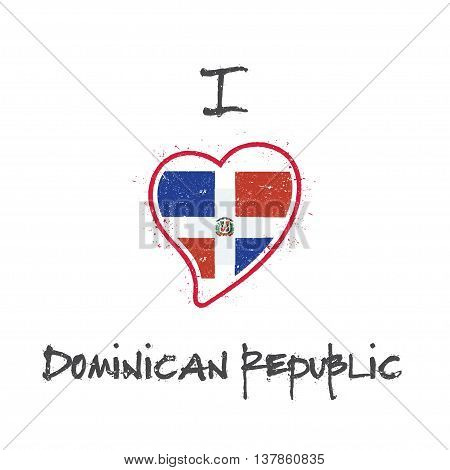Dominican Flag Patriotic T-shirt Design. Heart Shaped National Flag Dominican Republic On White Back