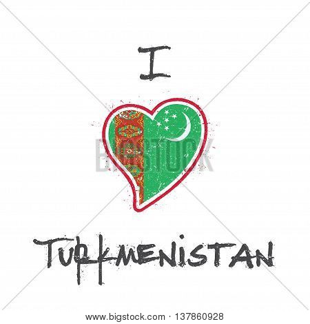 Turkmen Flag Patriotic T-shirt Design. Heart Shaped National Flag Turkmenistan On White Background.