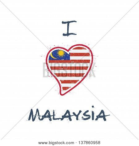 Malaysian Flag Patriotic T-shirt Design. Heart Shaped National Flag Malaysia On White Background. Ve