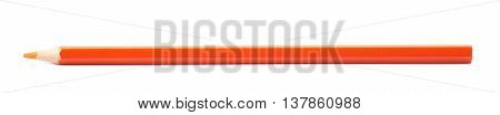 Single orange drawing pencil isolated over the white background