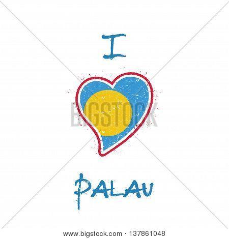 Palauan Flag Patriotic T-shirt Design. Heart Shaped National Flag Palau On White Background. Vector