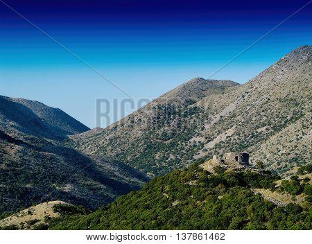 Horizontal vivid hilly mountains old castle landscape background backdrop