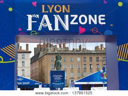 Lyon, France - June 16, 2016: fan zone of the European Football Championship EURO 2016