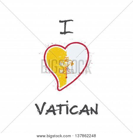 Italian Flag Patriotic T-shirt Design. Heart Shaped National Flag Holy See (vatican City State) On W
