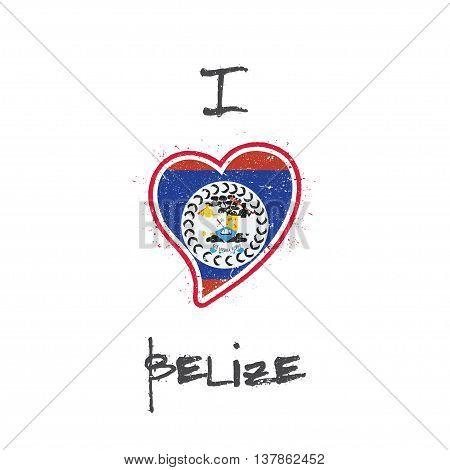 Belizean Flag Patriotic T-shirt Design. Heart Shaped National Flag Belize On White Background. Vecto