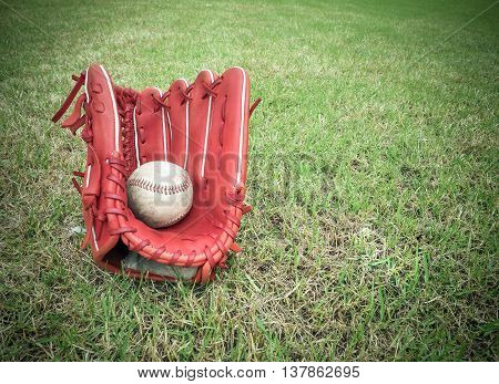 Nostalgic baseball in glove on a baseball field, With place your text