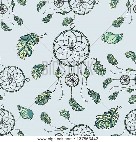Seamless pattern with hand drawn native Indian-American dream catcher. Tribal dream catcher. Boho styled. Vector.