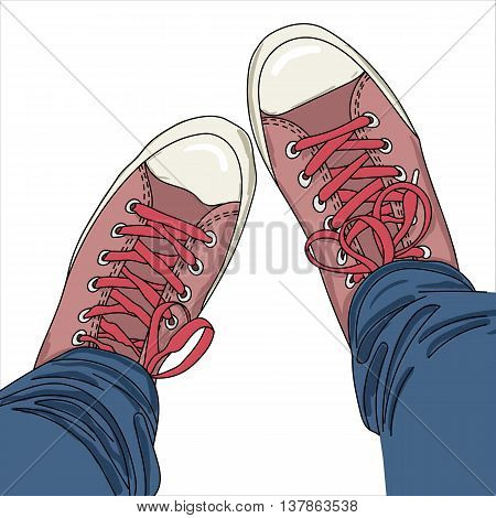 Legs with jeans in red gumshoes. Youth fashion. Vector illustration. EPS