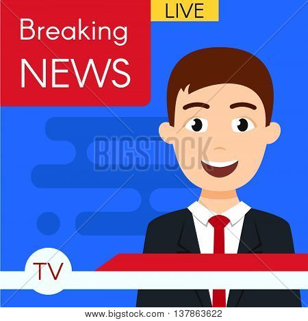 Vector illustration of smiling news journalist anchorman. Breaking news. News broadcast. Flat style.