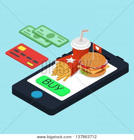 Vector isometric concept for online purchase of fast food. Vector illustration of isometric food: burger French fries and cola. Fast food concept.