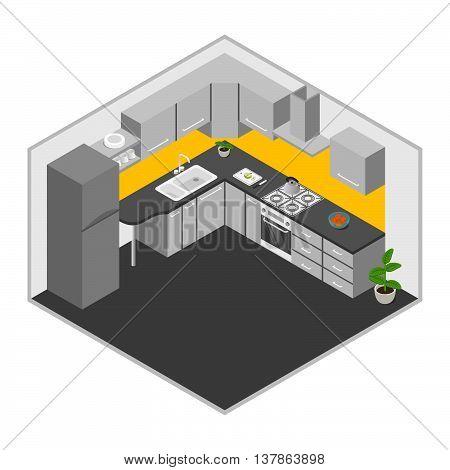 Vector illustration of isometric kitchen. Kitchen interior.