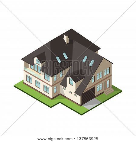 Vector illustration of isometric large private cottage or house for real estate brochures or web icon.
