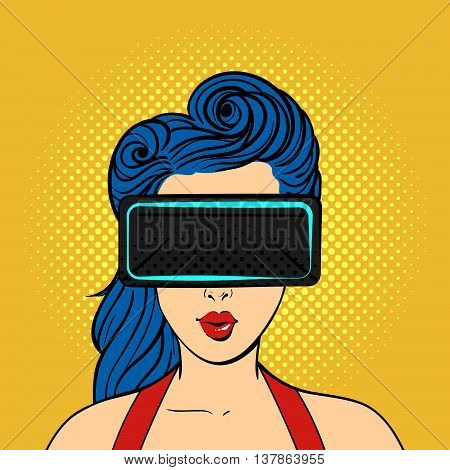 Vector pop art surprised woman wearing virtual reality glasses. Retro style. Hand drawn sign. Illustration for print web.