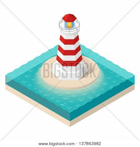 Vector illustration of isometric lighthouse. Searchlight tower in ocean.