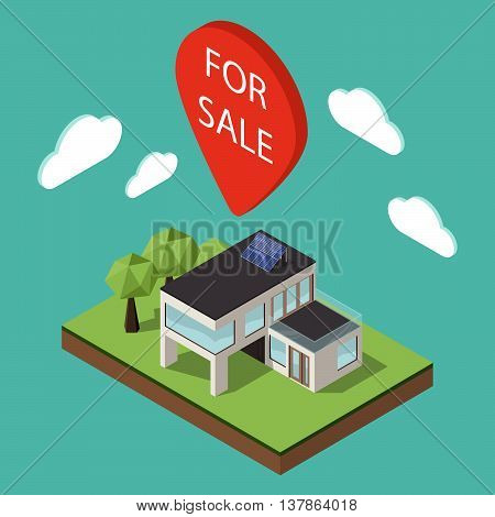 Vector illustration of isometric large private modern cottage or house for real estate brochures or web icon. Map pointer over the house with the words