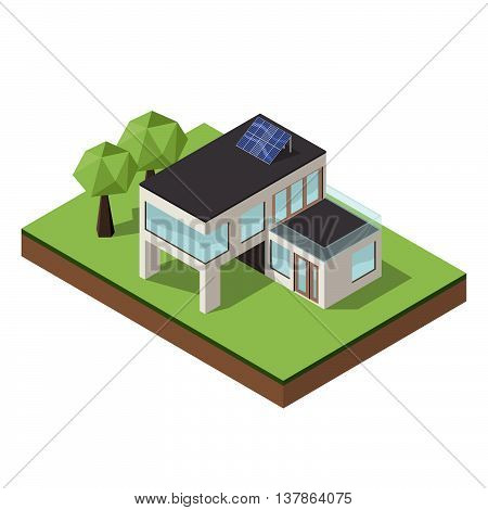 Vector illustration of isometric large private modern cottage or house for real estate brochures or web icon. Modern architecture concept.