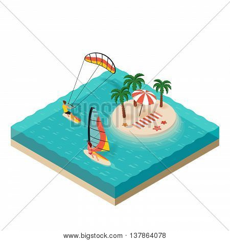 Vector isometric illustration of windsurfer and kite surfer. Tropical island on the sea. Man and woman on vacation. Concept for extreme sport.