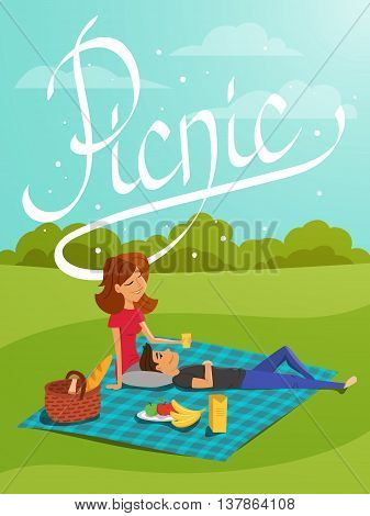Vector illustration of young happy couple having picnic in the park. Hand drawn word