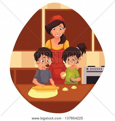 Mother and children preparing cookies in kitchen, cartoon vector illustration. Mom and kids cooking biscuits. Happy brother and sister baking cookies with mom