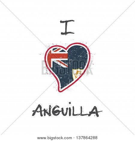 Anguillian Flag Patriotic T-shirt Design. Heart Shaped National Flag Anguilla On White Background. V