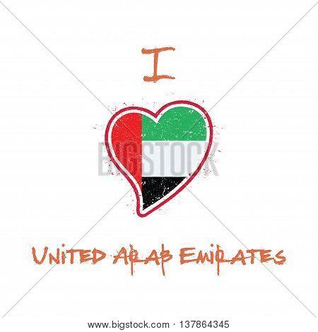 Emirian Flag Patriotic T-shirt Design. Heart Shaped National Flag United Arab Emirates On White Back