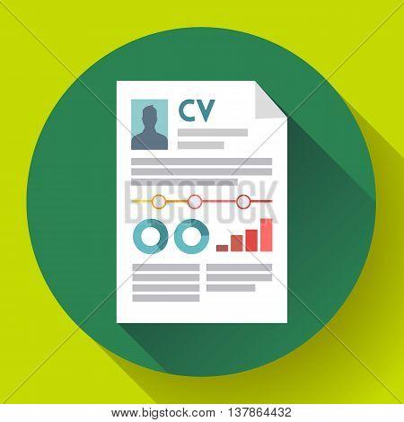 CV resume icon flat. Modern flat 2.0 style.