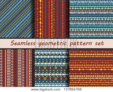 Seamless vector texture set. Aztec style. Peruvian drawings. Seamless pattern collection. thnic seamless backdrop.