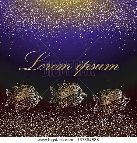 Gold glitter frame. Gold background for flyer, poster, banner, web, header. Gold blur card. Template with golden sparkles and golden fishes on a blue background.