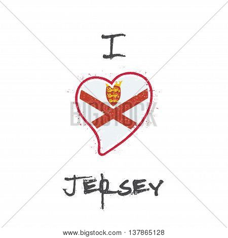 Channel Islander Flag Patriotic T-shirt Design. Heart Shaped National Flag Jersey On White Backgroun