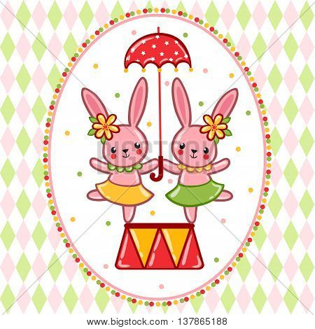 Vector illustration on the theme of the circus with cheerful rabbits and umbrella.