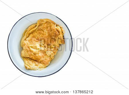 Egg Omelet In Ceramic Plate. Isolated On White Background With Copy Space