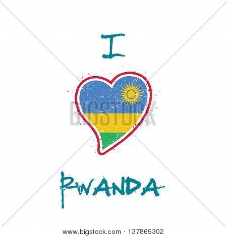 Rwandan Flag Patriotic T-shirt Design. Heart Shaped National Flag Rwanda On White Background. Vector
