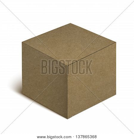 Empty Closed Realistic Brown Cardboard Box Icon On White Background.  Illustration