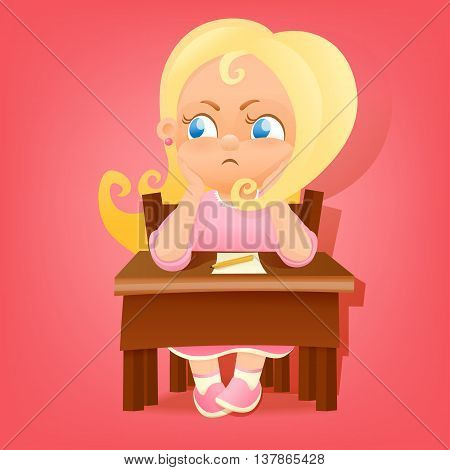 Illustration of a young girl in pink dress sitting at school table. Vector illustration