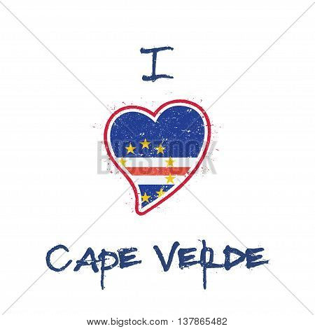Cape Verdian Flag Patriotic T-shirt Design. Heart Shaped National Flag Cape Verde On White Backgroun