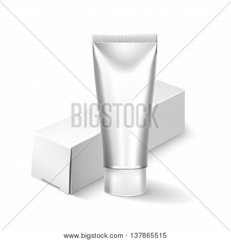 Packing White Realistic Tubes And Package For Cosmetics Isolated On White Background. Here Can Be Creams, Toothpaste, Gel, Sauce, Paint, Glue, Ointments, Lotions, Medicines. Use Mockup For Your Design