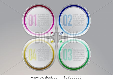 Colorful modern four steps timeline infographics on gradient gray background. Four abstract rounded pointers in same direction with icons in modern 3D style can be used as infographic or timeline element